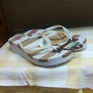 NWT ladies Wedge sandal,Tropical,sz.10-11